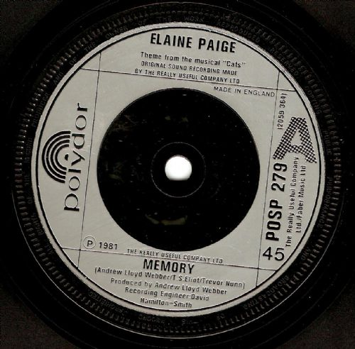 ELAINE PAIGE Memory Vinyl Record 7 Inch Polydor 1981